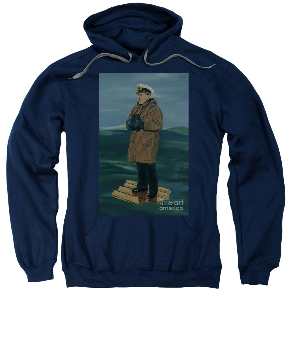 Captain Sweatshirt featuring the painting The Captain by Anthony Dunphy