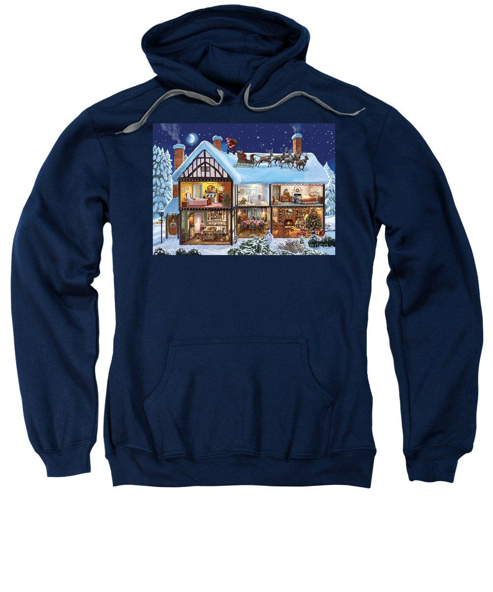 Christmas Sweatshirt featuring the digital art Christmas House by MGL Meiklejohn Graphics Licensing