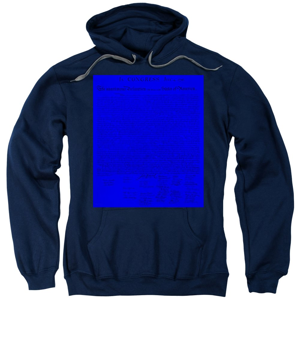 The Declaration Of Independence Sweatshirt featuring the photograph The Declaration Of Independence In Blue by Rob Hans