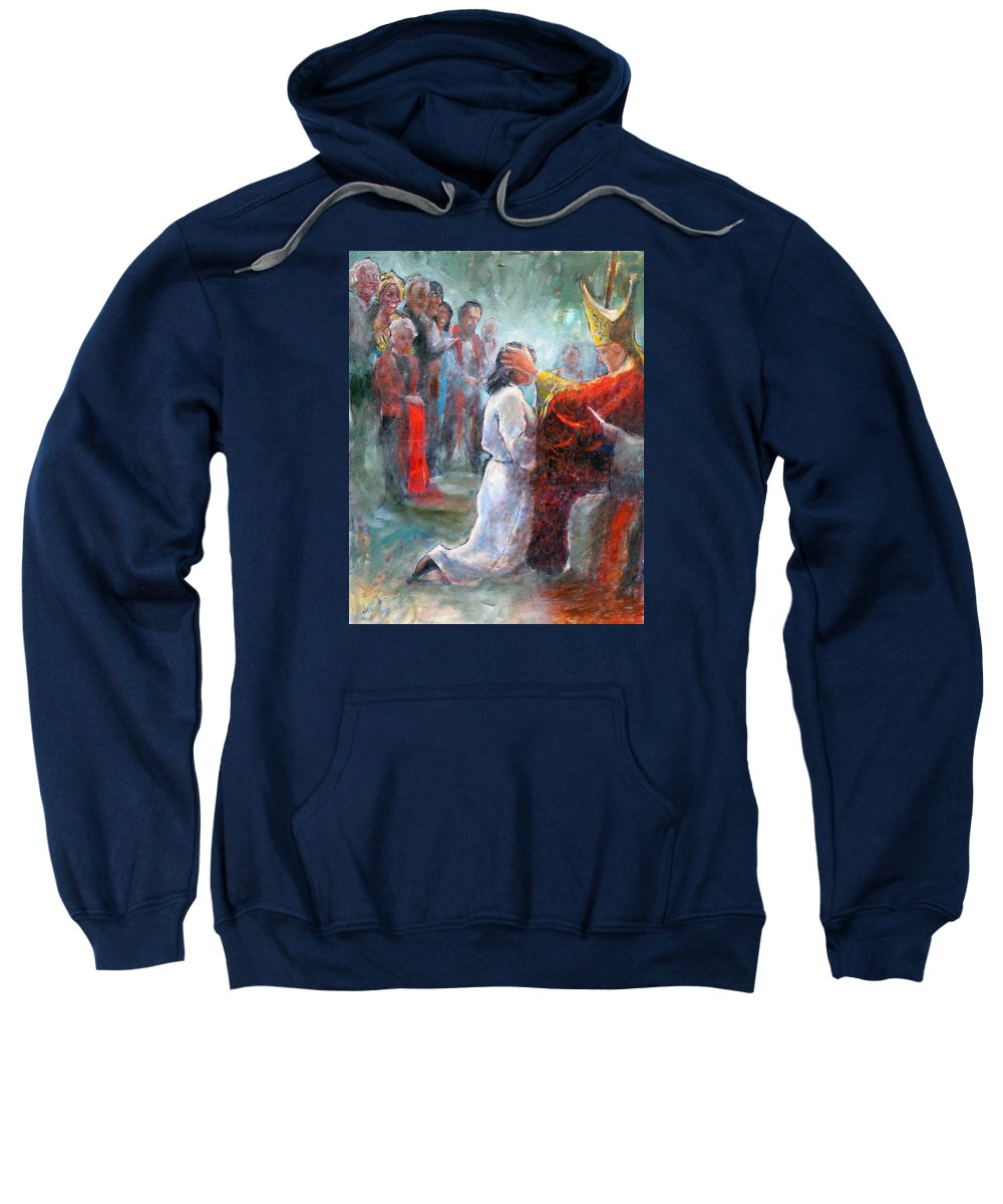 Religious Sweatshirt featuring the painting The Episcopal Ordination Of Sierra Wilkinson by Gertrude Palmer