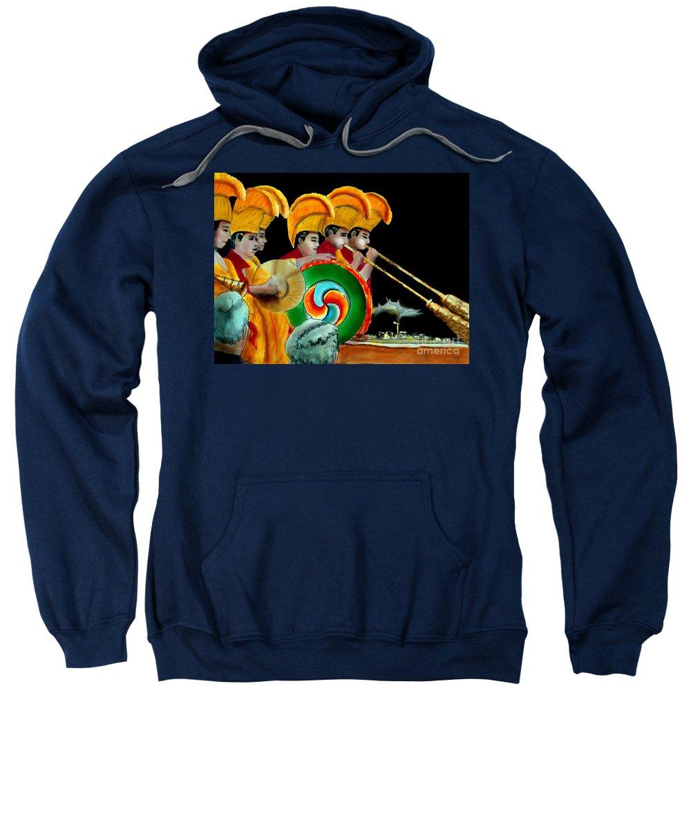Tibetan Monks Sweatshirt featuring the painting The Healing Ceremony by Albert Puskaric