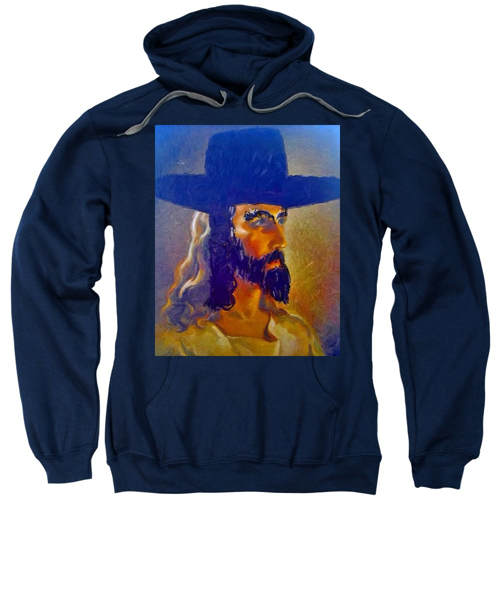 Jesus Sweatshirt featuring the painting The Man by Lisa Piper