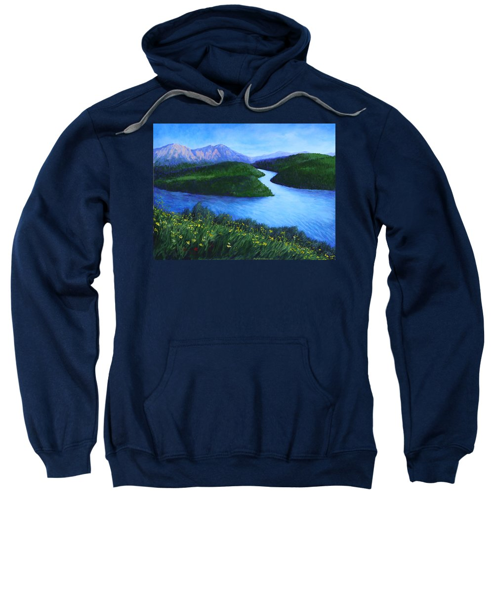 Landscape Sweatshirt featuring the painting The Mountains Beyond by Penny Birch-Williams