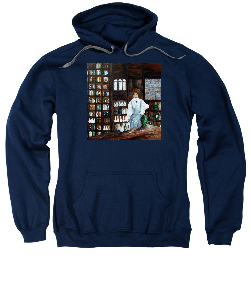 Apothecary Sweatshirt featuring the painting The Old Pharmacy ... Medicine In The Making by Eloise Schneider