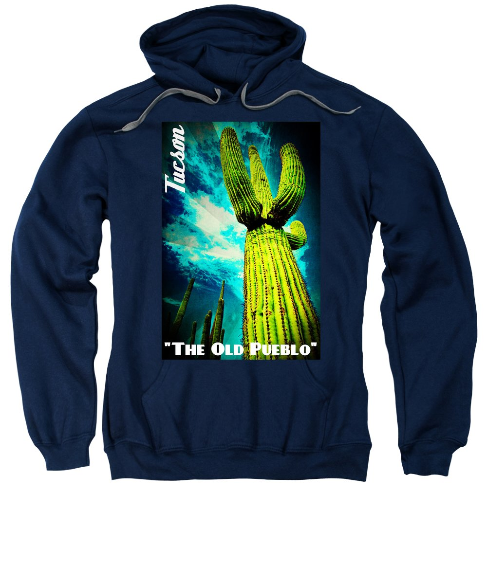 The Old Pueblo Sweatshirt featuring the mixed media The Old Pueblo by Michelle Dallocchio