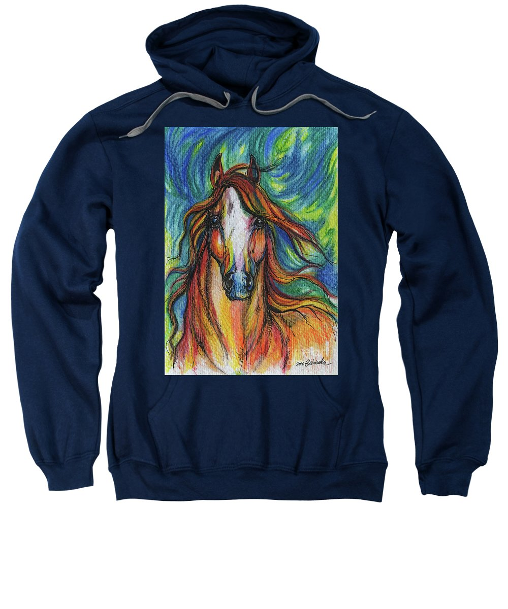 Psychodelic Sweatshirt featuring the painting The Red Horse by Angel Ciesniarska