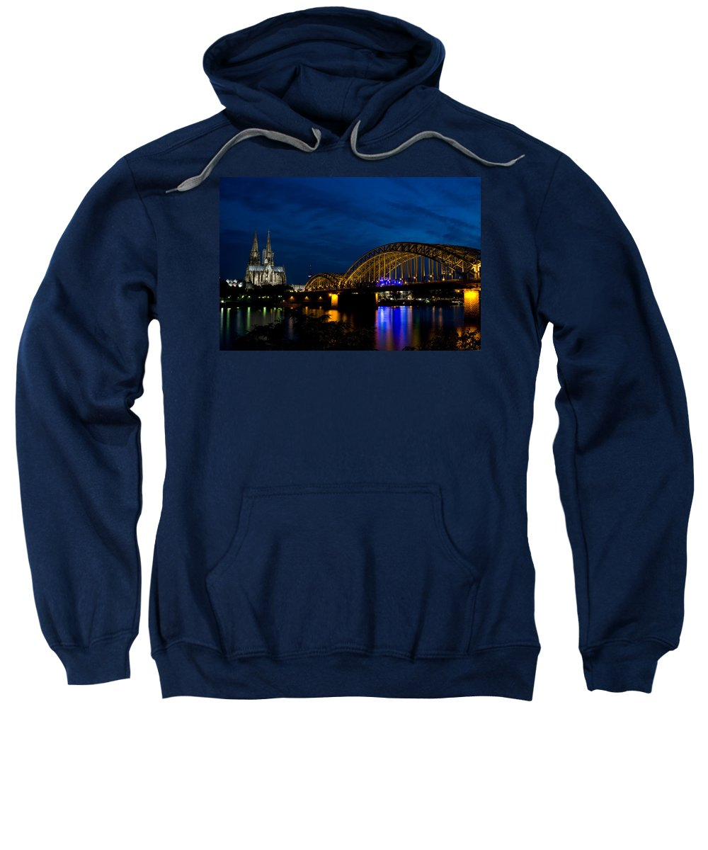 Cathedral Sweatshirt featuring the photograph The Rhine Rail Bridge And Cathedral Of Cologne by Dray Van Beeck