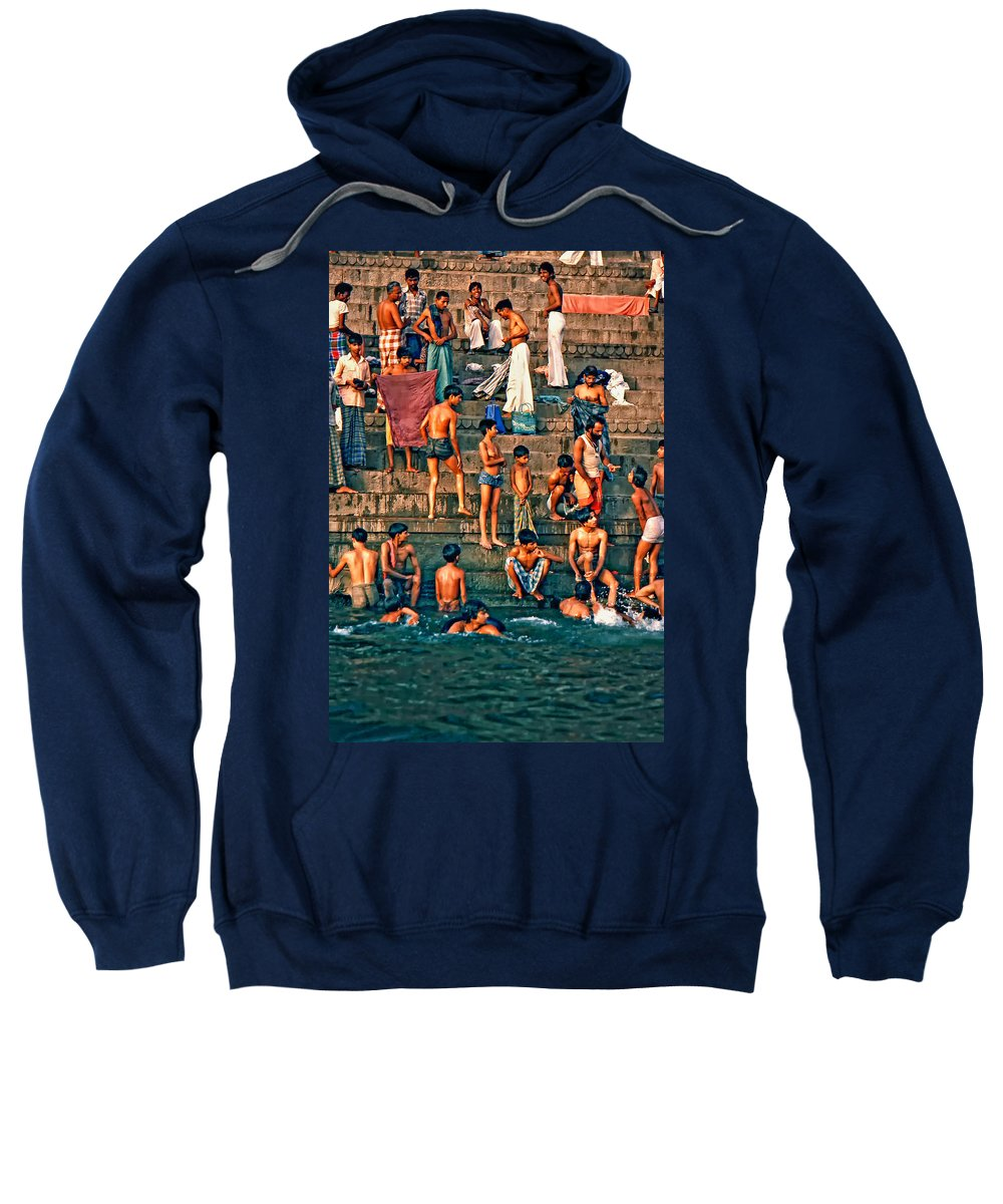 Varanasi Sweatshirt featuring the photograph The Scolding by Steve Harrington