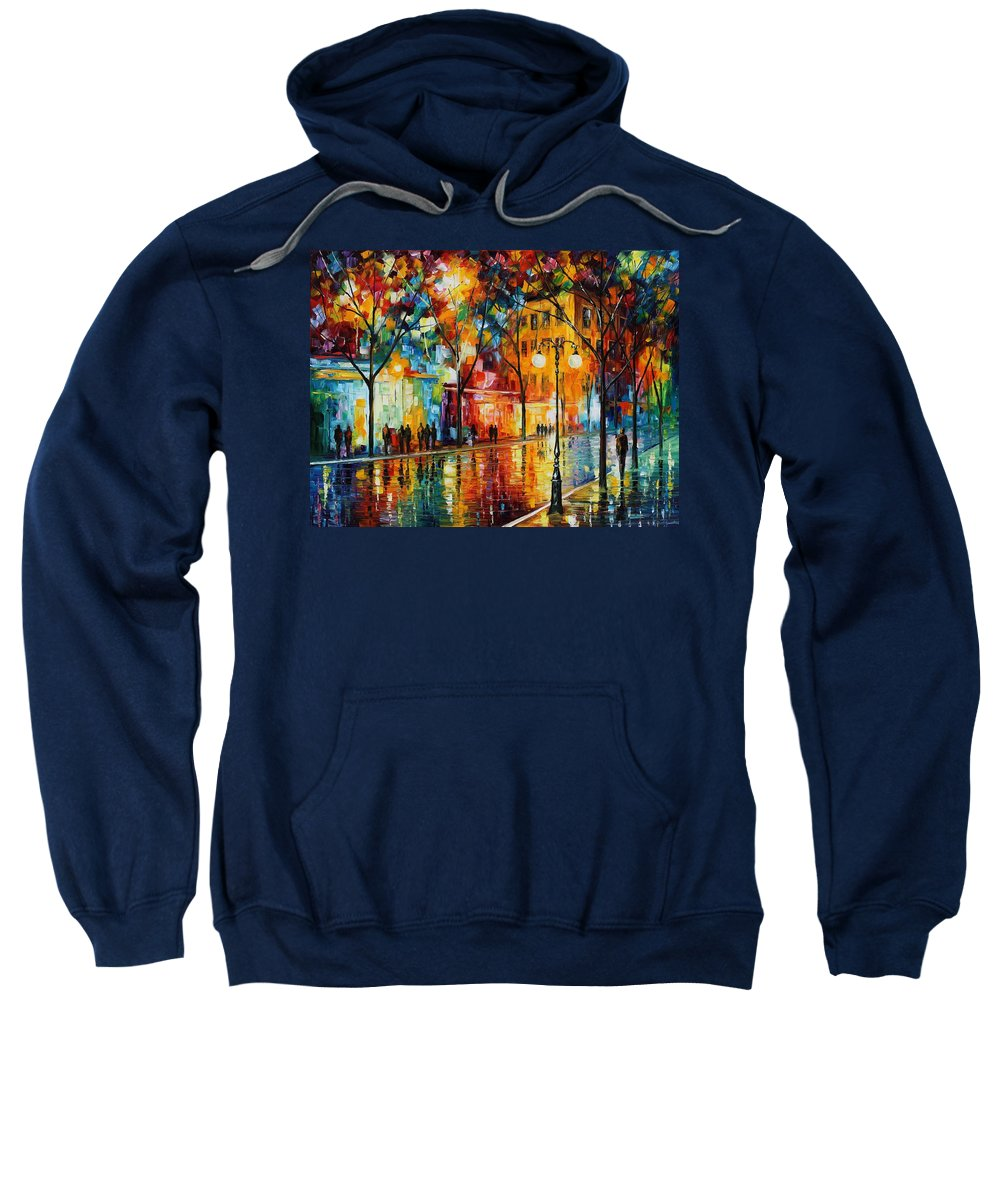 Leonid Afremov Sweatshirt featuring the painting The Tears Of The Fall - Palette Knife Oil Painting On Canvas By Leonid Afremov by Leonid Afremov