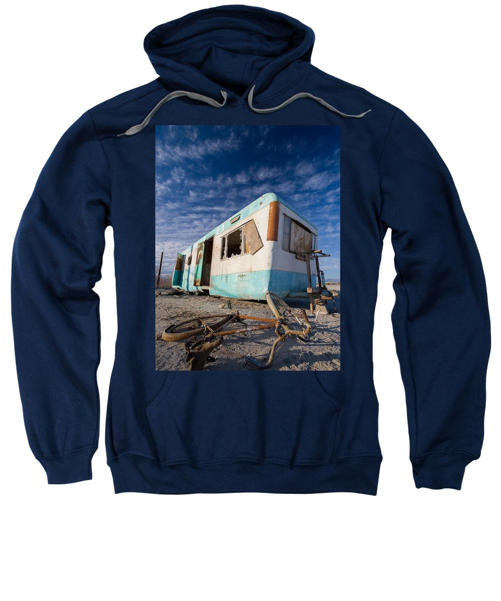 Salton Sea Sweatshirt featuring the photograph Theres My Bike by Scott Campbell