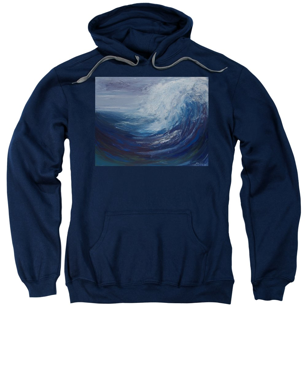 Ocean Waves Sweatshirt featuring the painting Tidal Wave by Christine Cobden