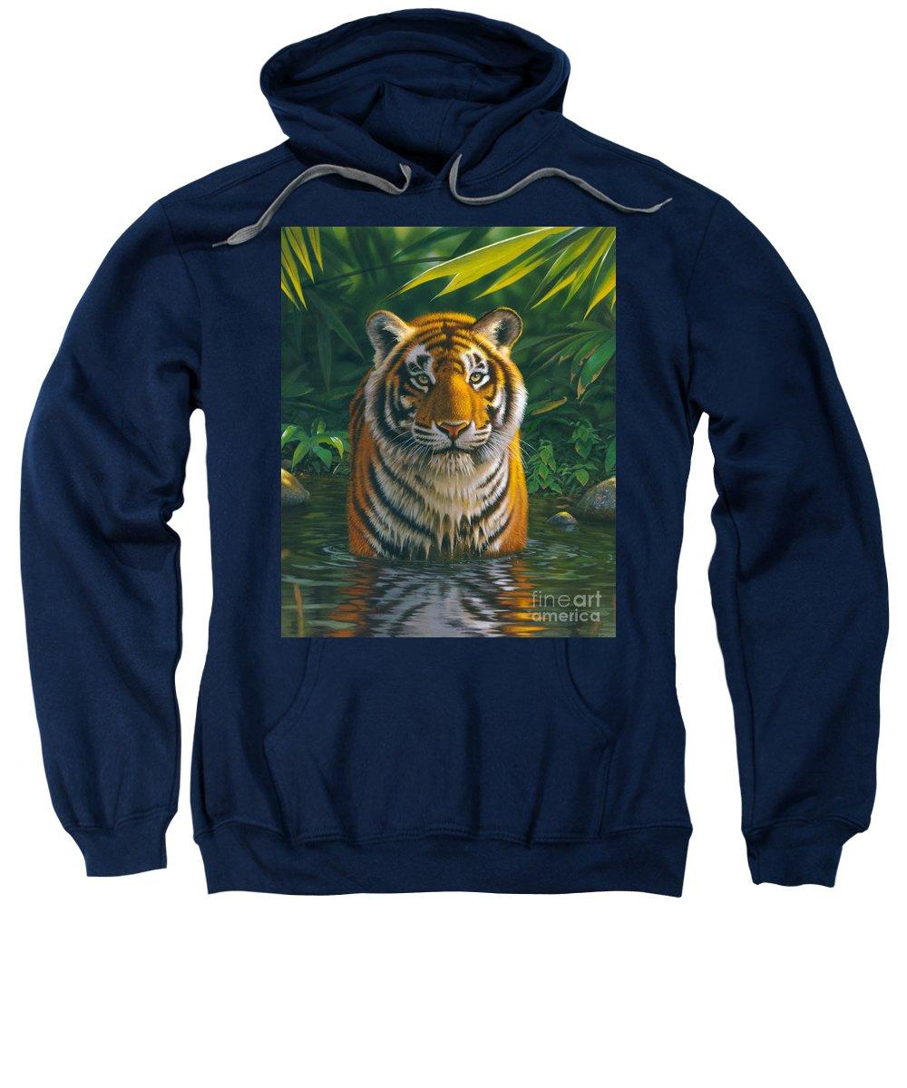 Animal Sweatshirt featuring the photograph Tiger Pool by MGL Studio - Chris Hiett