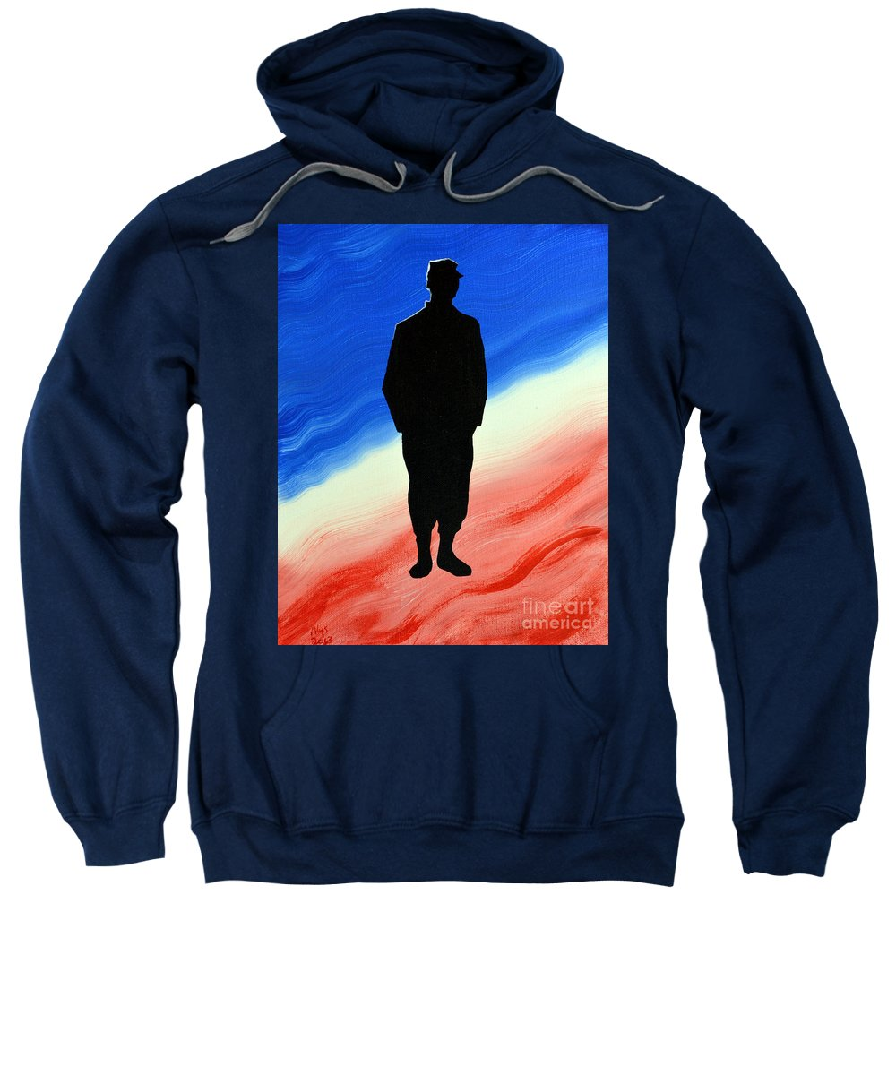 Us Military Sweatshirt featuring the painting Today's Soldier by Alys Caviness-Gober