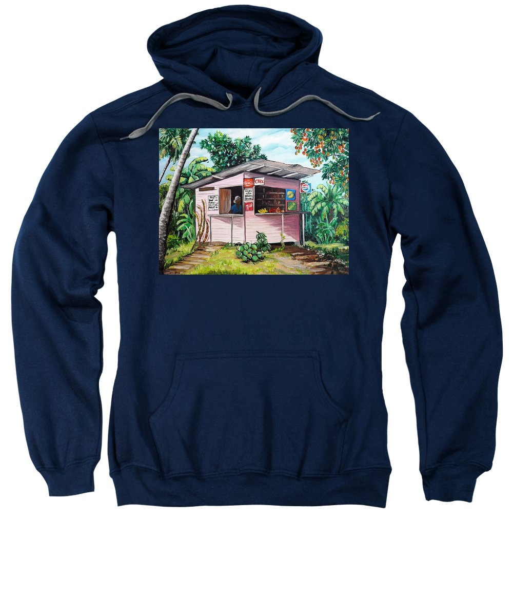 Shop Painting Sweatshirt featuring the painting Trini Roti Shop by Karin Dawn Kelshall- Best