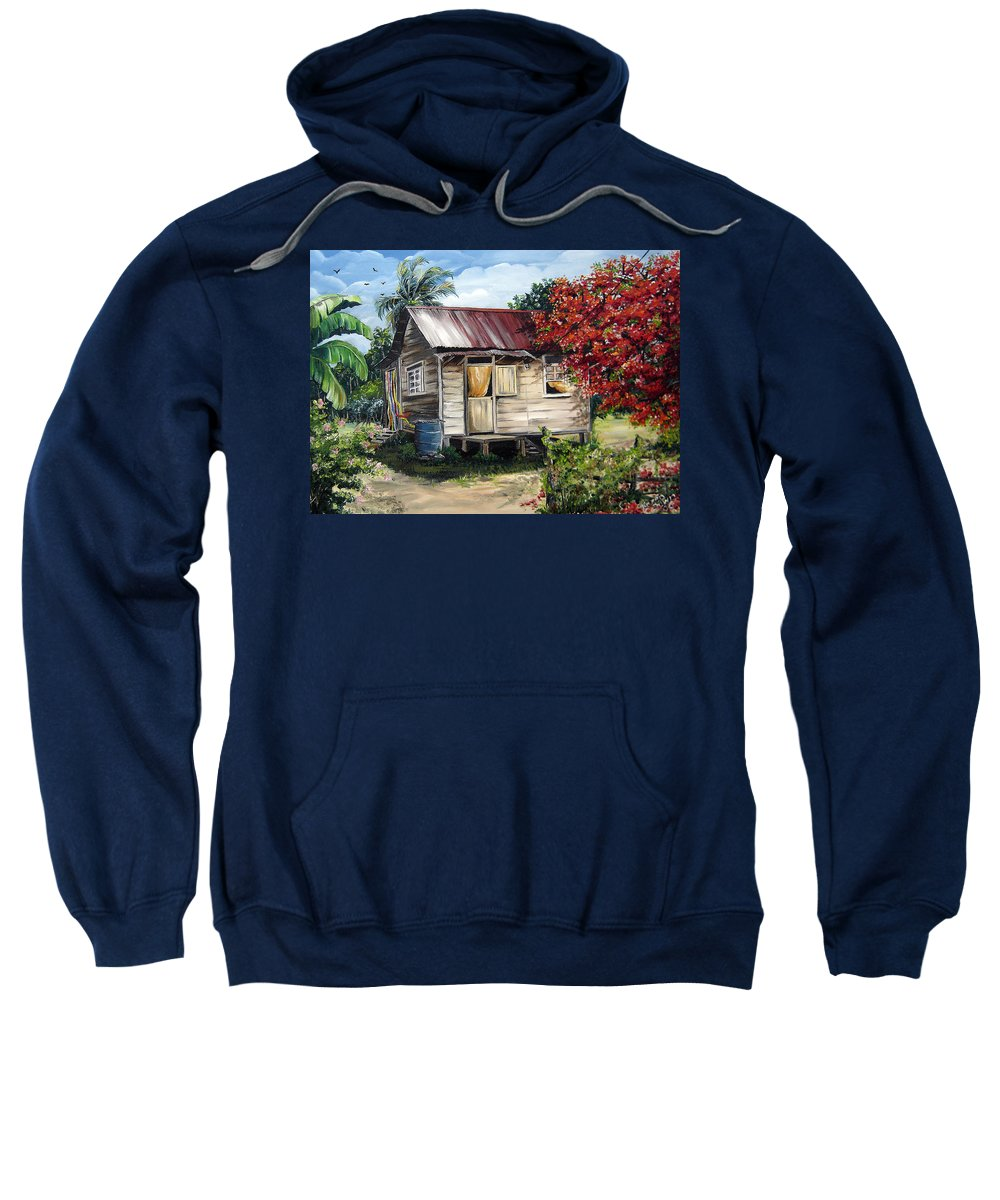 Landscape Paintings Tropical Paintings Trinidad House Paintings House Paintings Country Painting Trinidad Old Wood House Paintings Flamboyant Tree Paintings Caribbean Paintings Greeting Card Paintings Canvas Print Paintings Poster Art Paintings Sweatshirt featuring the painting Trinidad Life 1 by Karin Dawn Kelshall- Best