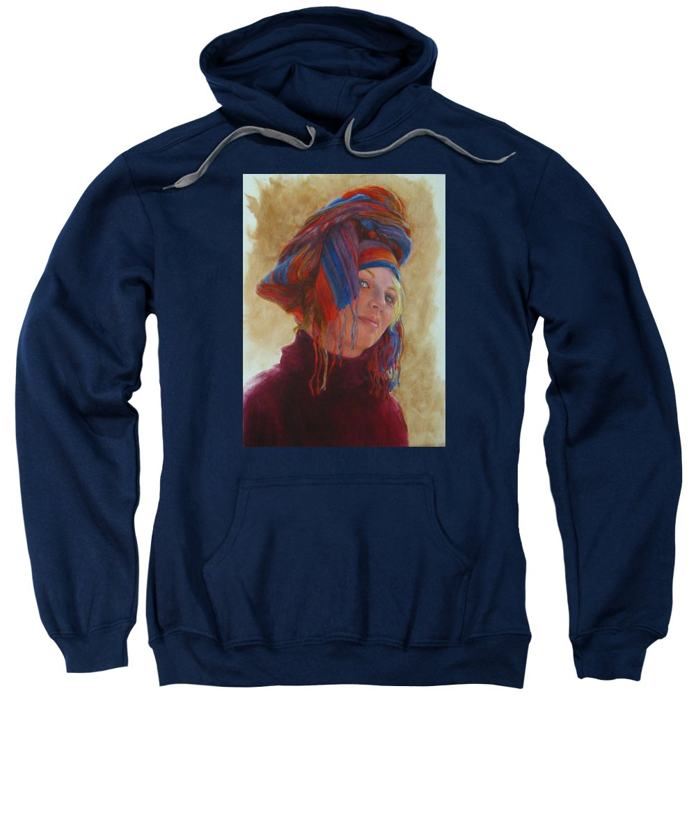 Figurative Sweatshirt featuring the painting Turban 2 by Connie Schaertl