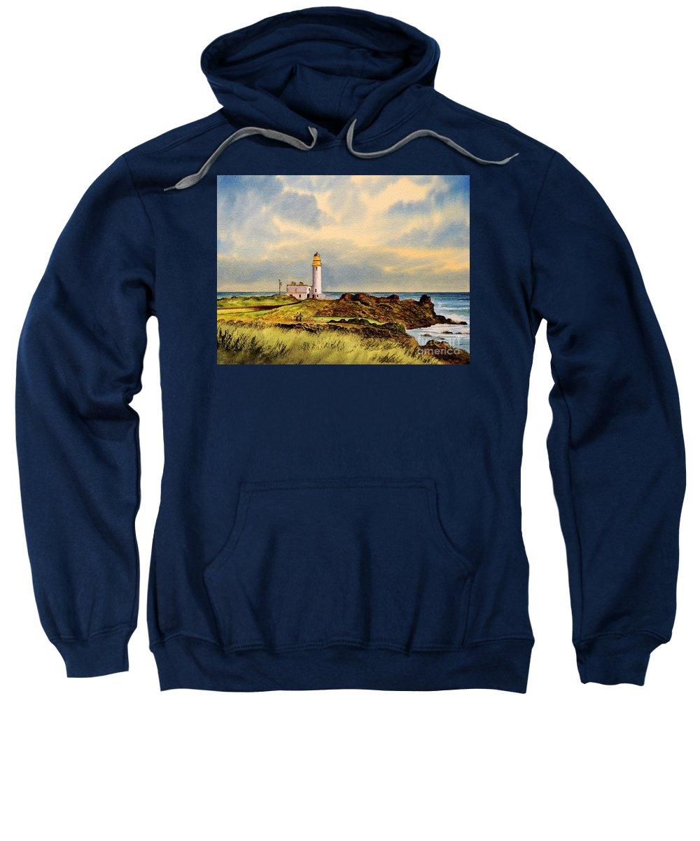 Golf Sweatshirt featuring the painting Turnberry Golf Course 9Th Tee by Bill Holkham