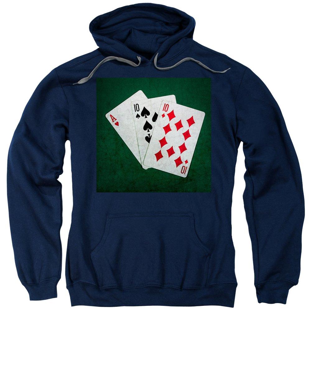 Blackjack Sweatshirt featuring the photograph Twenty One 4 - Square by Alexander Senin
