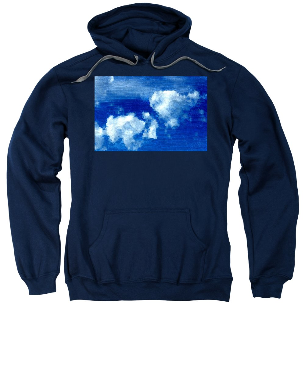 Blue Sweatshirt featuring the painting Two Clouds In The Sky by Bruce Nutting