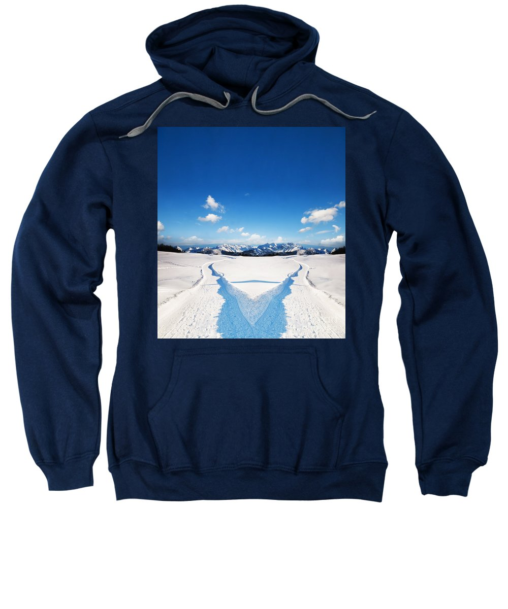 Winter Sweatshirt featuring the photograph Two Ways Choice In Winter by Michal Bednarek