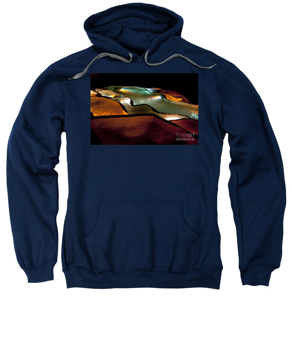 Grotte De St. Marcel Gorges De L'ardeche France Cave Caves Pool Pools Water Color Light Show Colors Abstract Waterfall Waterfalls Underground Sweatshirt featuring the photograph Underground Light Show by Bob Phillips