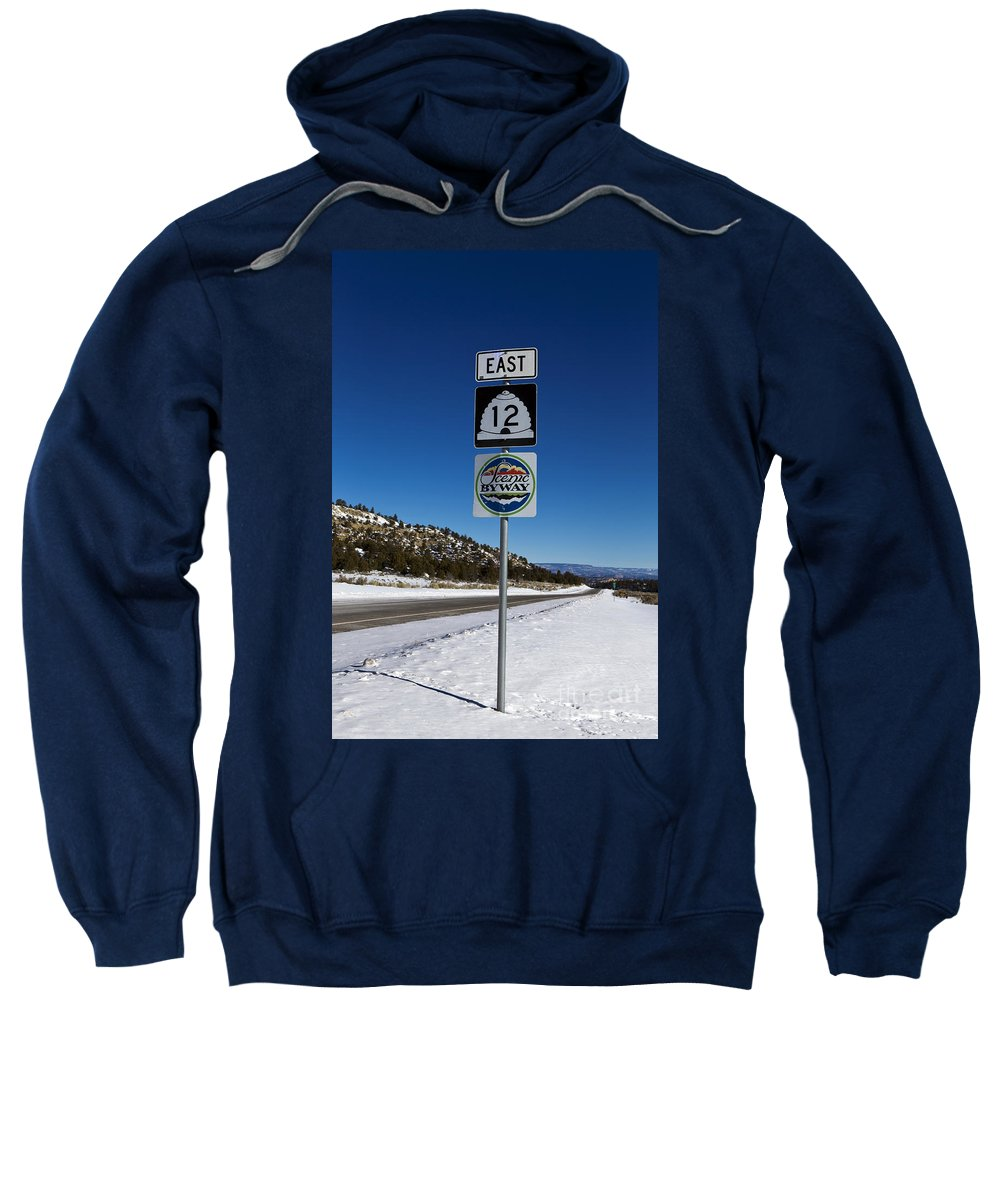 Scenic Byway Sweatshirt featuring the photograph Utah Scenic Highway 12 In Snow by Jason O Watson