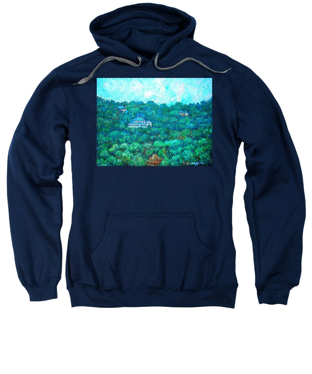 Mountains Sweatshirt featuring the painting View From Rec Center by Kendall Kessler