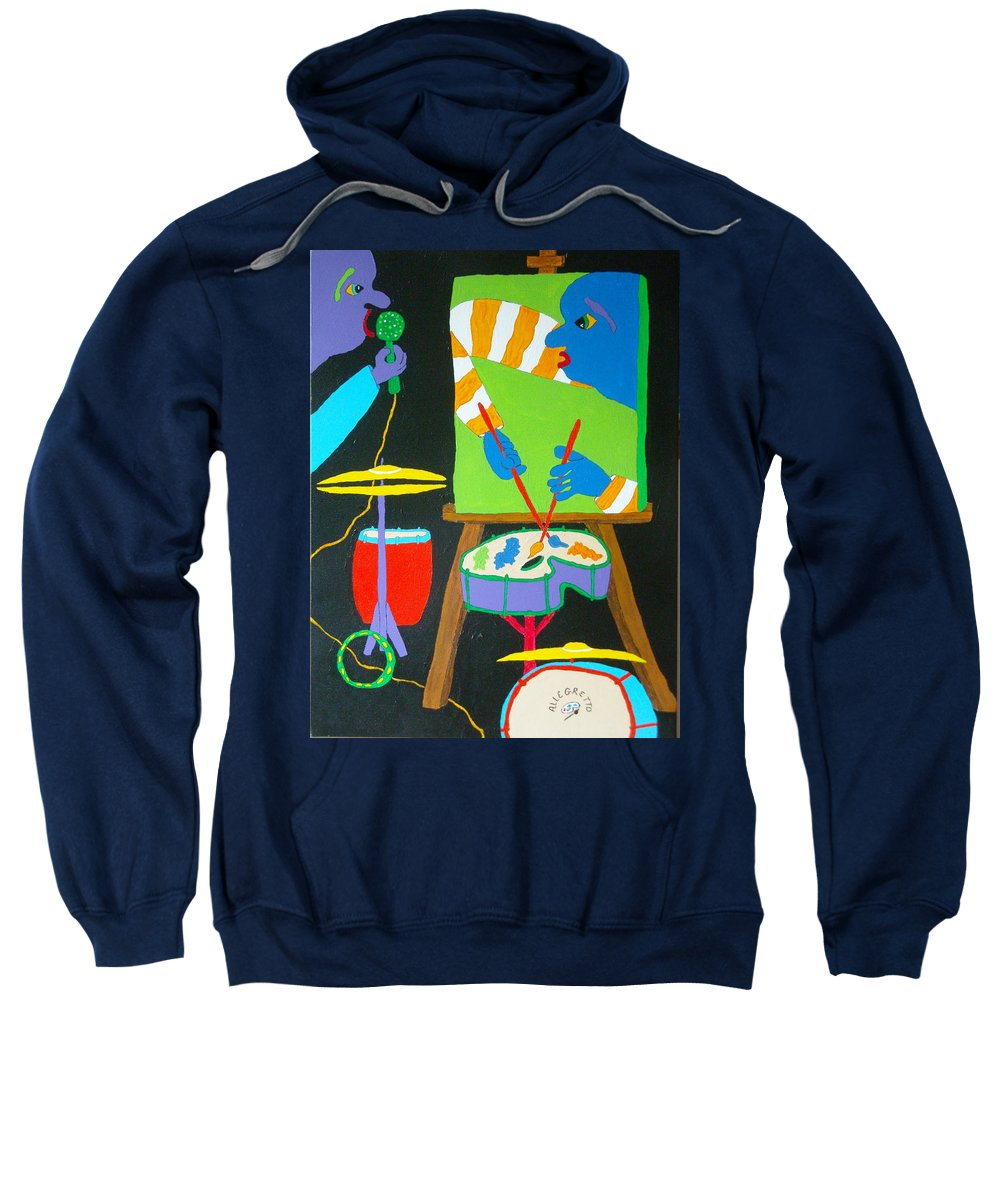 Allegretto Art Sweatshirt featuring the painting Vinny And The Van Goes Three by Pamela Allegretto