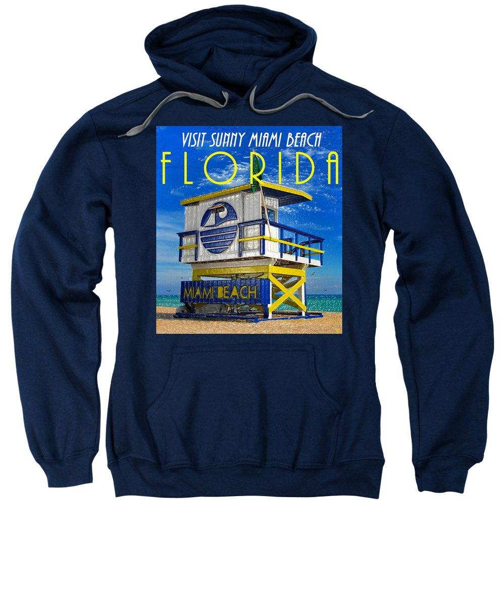 Florida Sweatshirt featuring the painting Vintage Florida Travel Style Artwork by David Lee Thompson