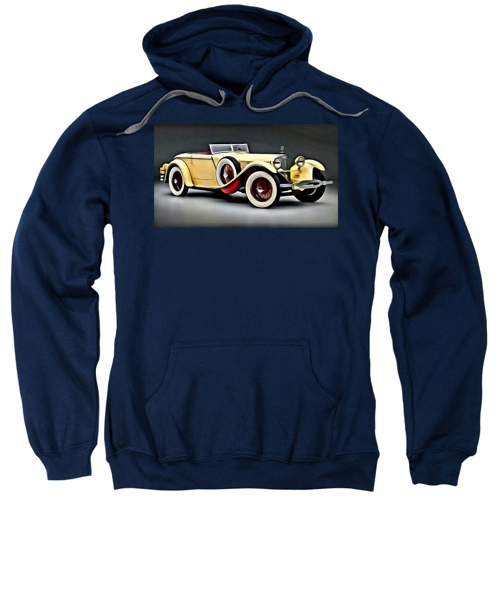 Car Sweatshirt featuring the painting Vintage Mercedes Convertible by Florian Rodarte