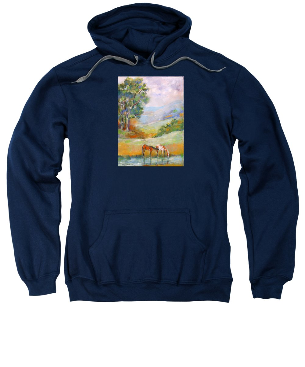 Horses Sweatshirt featuring the painting Water Hole by Mary Armstrong