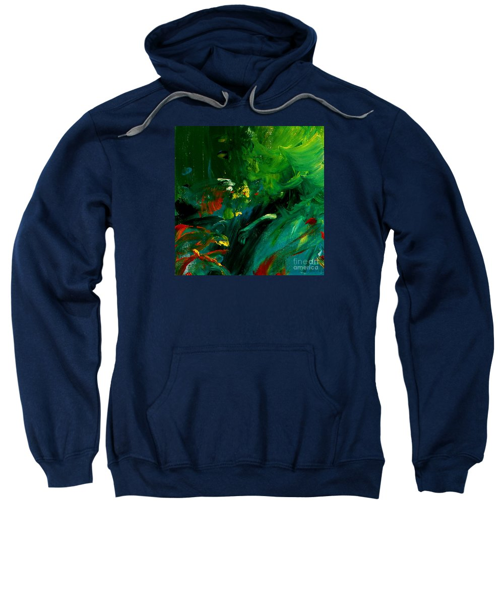 Colorful Sweatshirt featuring the painting Water Plants by Noa Yerushalmi
