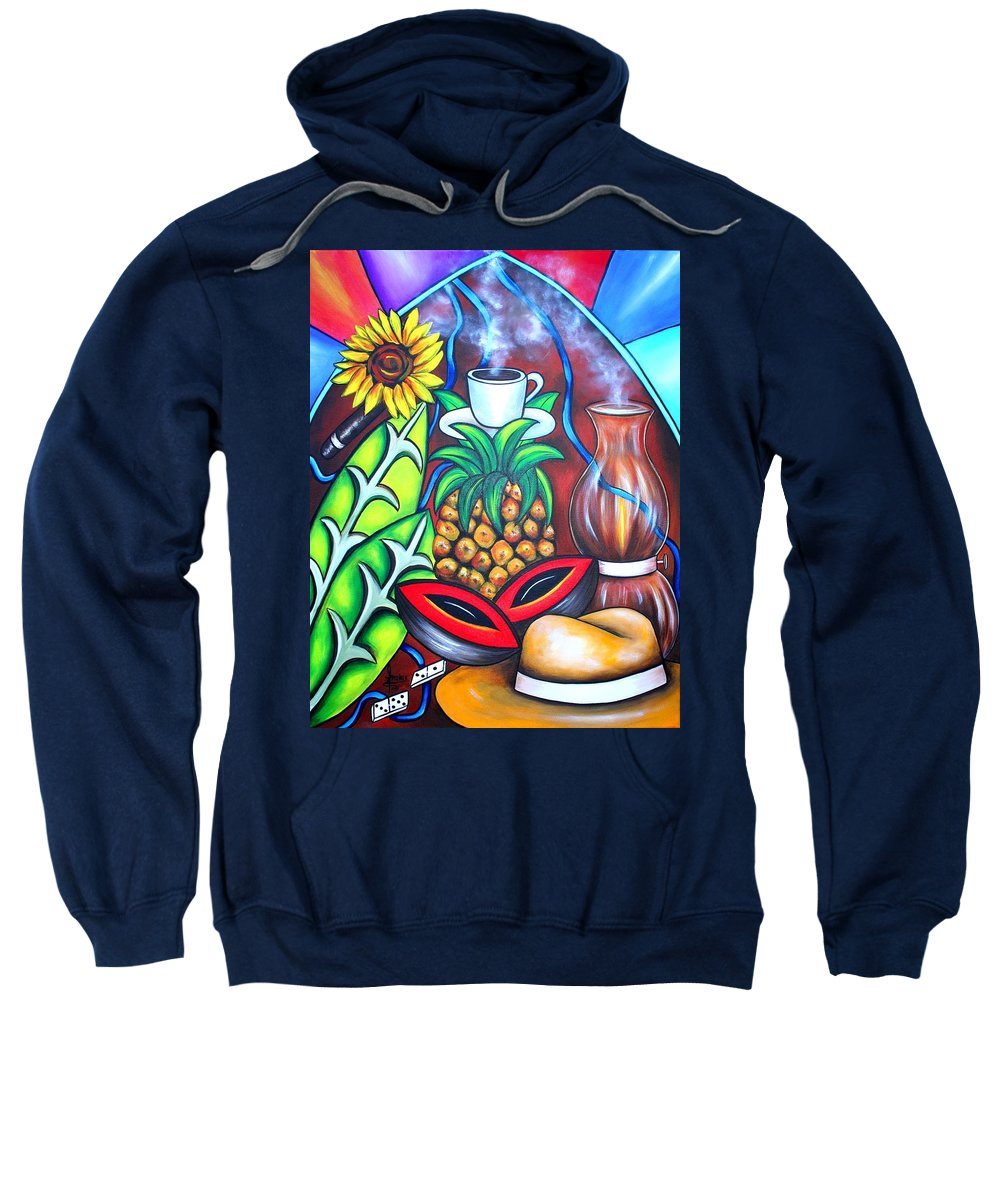 Cuban Paintings Sweatshirt featuring the painting Welcome To Here And Now by Annie Maxwell