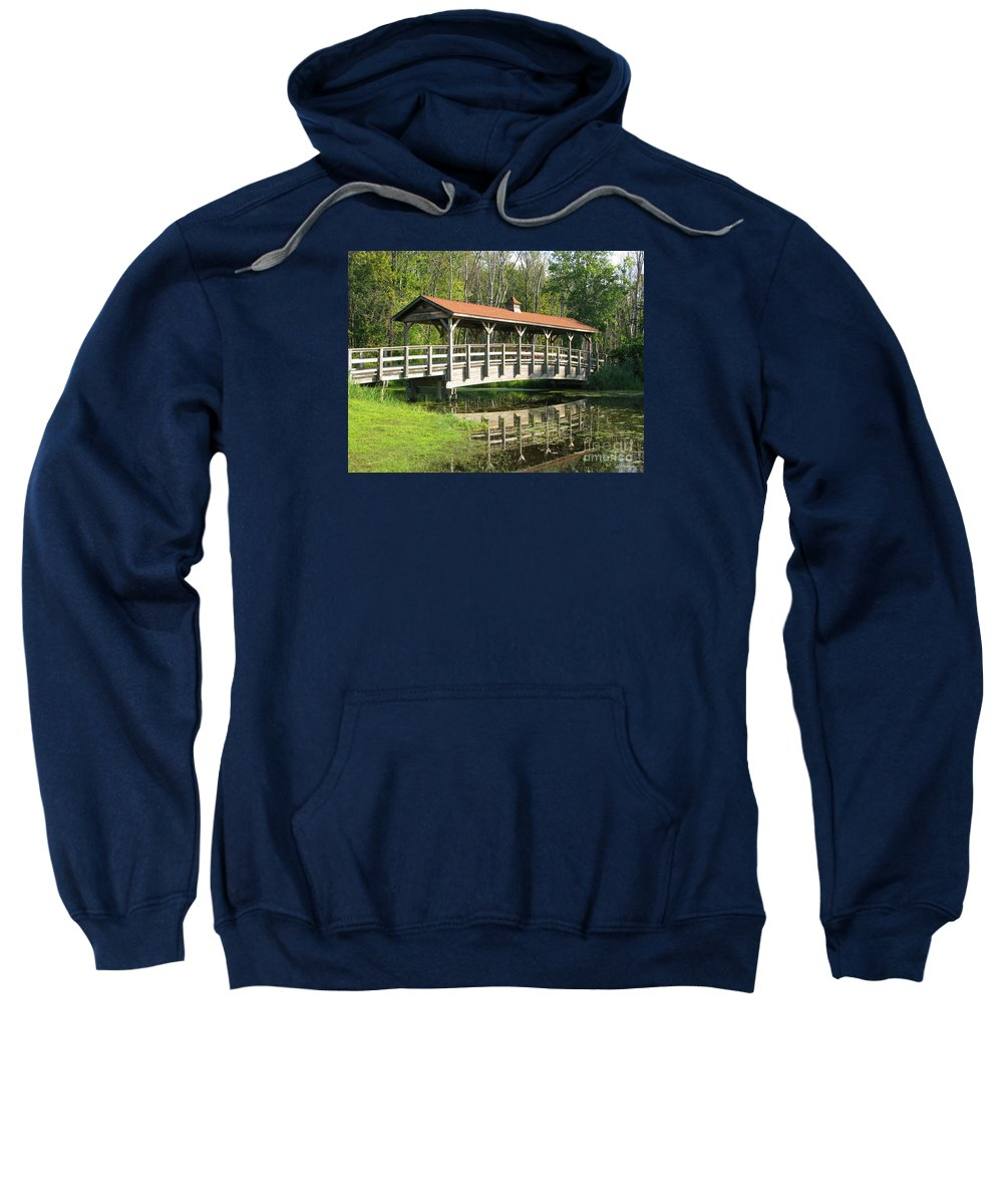 Bridge Sweatshirt featuring the photograph Wetland Footbridge by Ann Horn