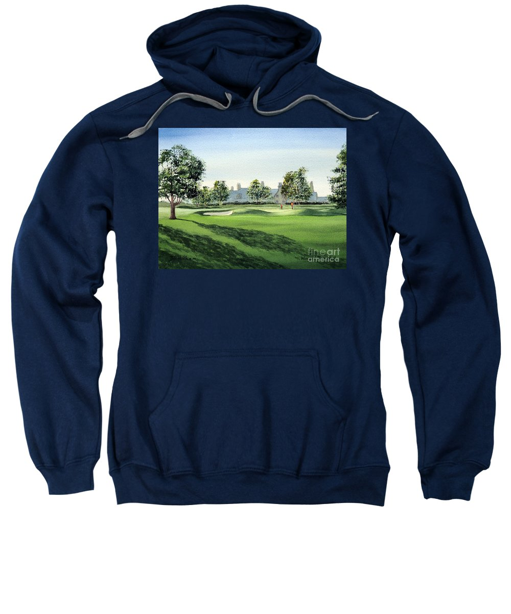 Winged Foot West Sweatshirt featuring the painting Winged Foot West Golf Course 18th Hole by Bill Holkham
