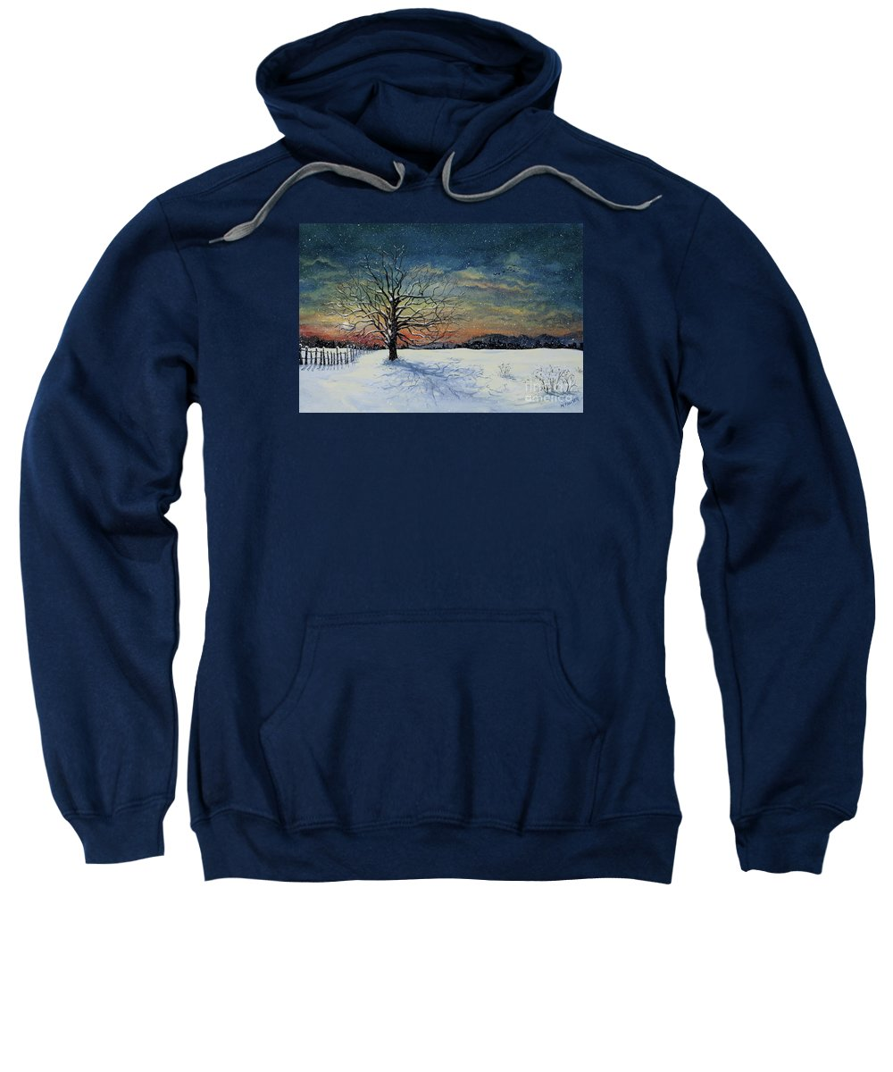 Oak Tree Sweatshirt featuring the painting Winters Eve by Mary Palmer