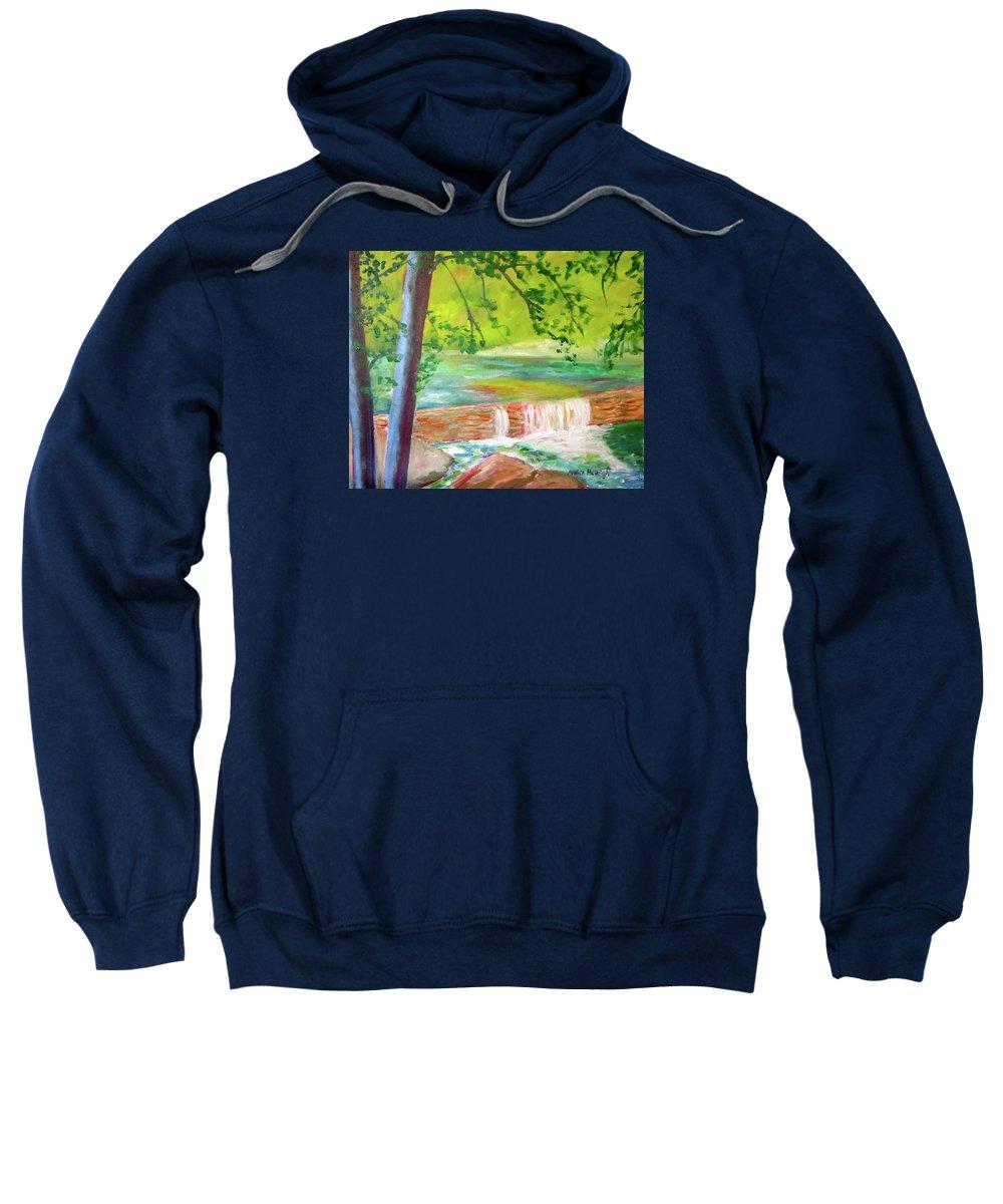 Wissahickon Creek Sweatshirt featuring the painting Wissahickon by Marita McVeigh