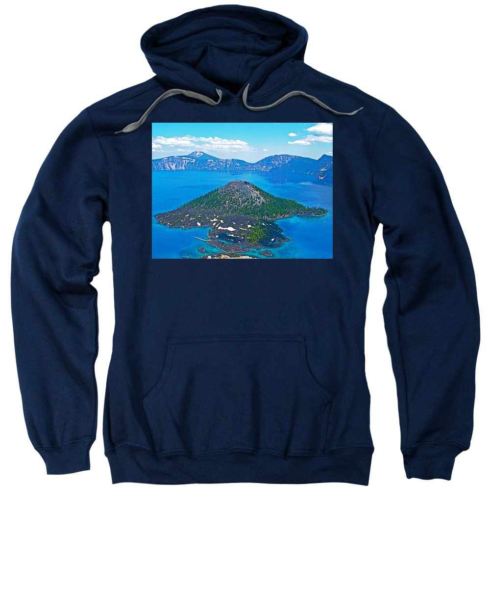 Wizard Island From Watchman Overlook In Crater Lake National Park Sweatshirt featuring the photograph Wizard Island From Watchman Overlook In Crater Lake National Park-oregon by Ruth Hager