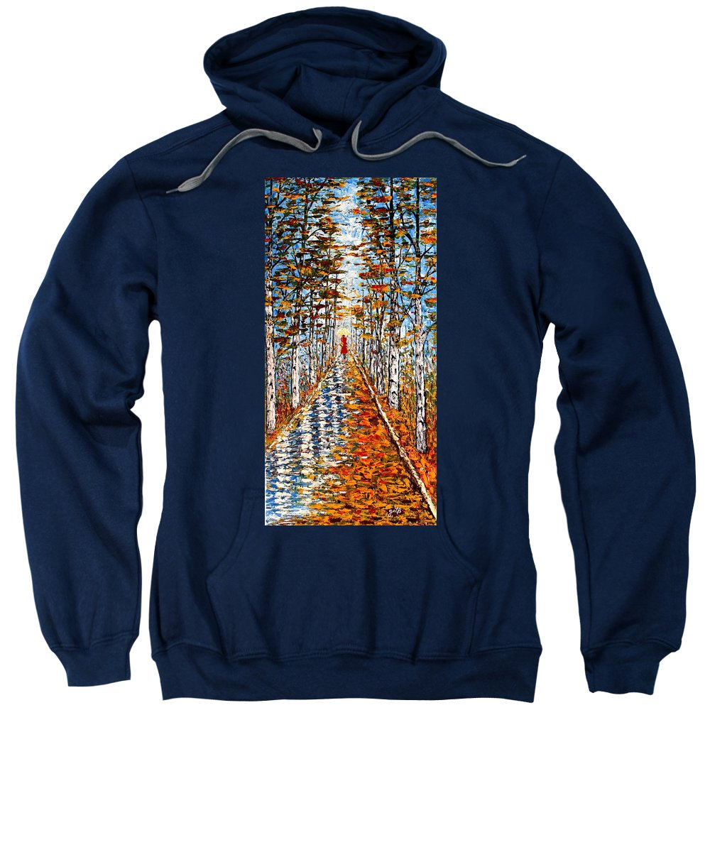 Acrylic Fall Landscape Sweatshirt featuring the painting Woman In Red In Fall Rainy Day by Georgeta Blanaru