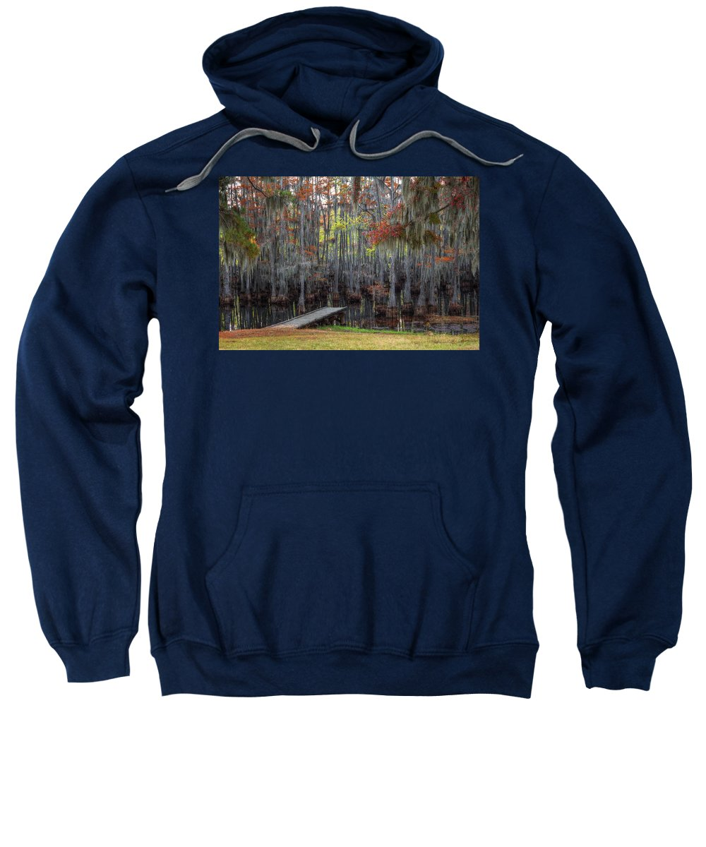 Dock Sweatshirt featuring the photograph Wooden Dock On Autumn Swamp by Ester Rogers