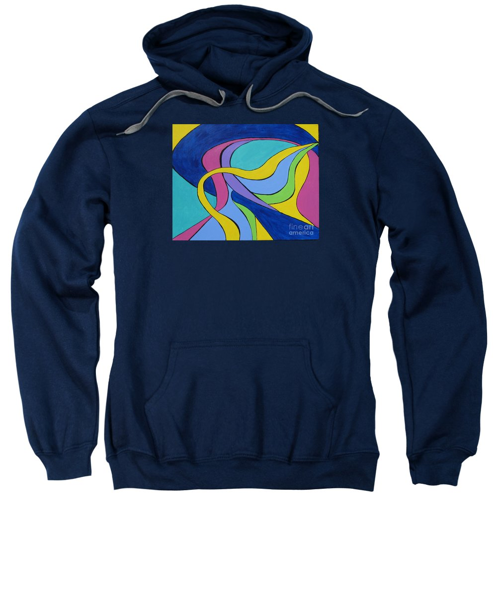 Abstract Sweatshirt featuring the painting Yellow Ribbon by Marilyn Healey