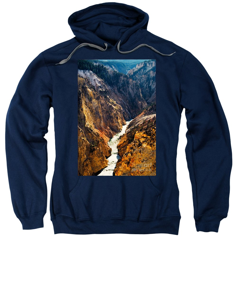 Yellowstone Sweatshirt featuring the photograph Yellowstone River by Kathy McClure