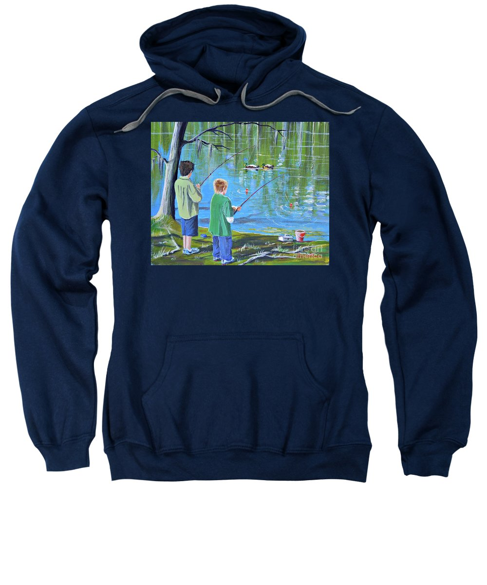 Fishing Sweatshirt featuring the painting Young Lads Fishing by Bill Holkham