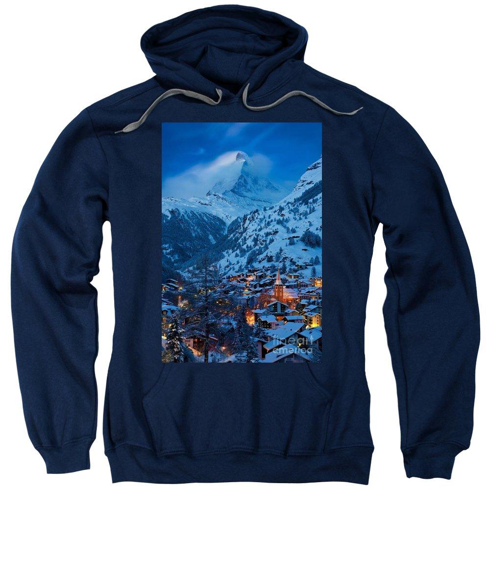 Dusk Sweatshirt featuring the photograph Zermatt - Winter's Night by Brian Jannsen