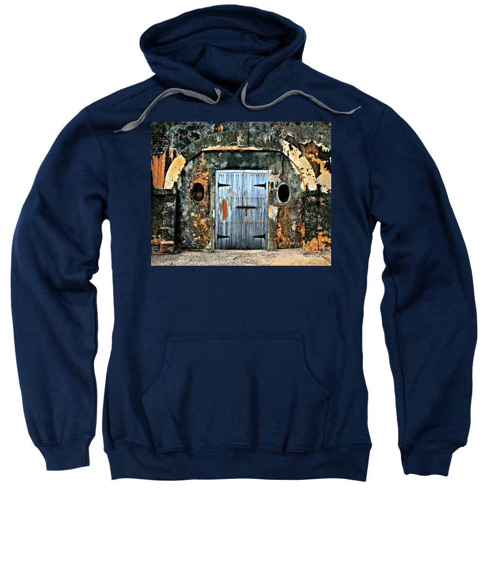 Fort Sweatshirt featuring the photograph Old Wooden Doors by Perry Webster