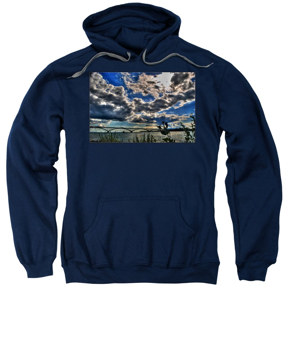 Sweatshirt featuring the photograph 001 Peace Bridge Series II Beautiful Skies by Michael Frank Jr