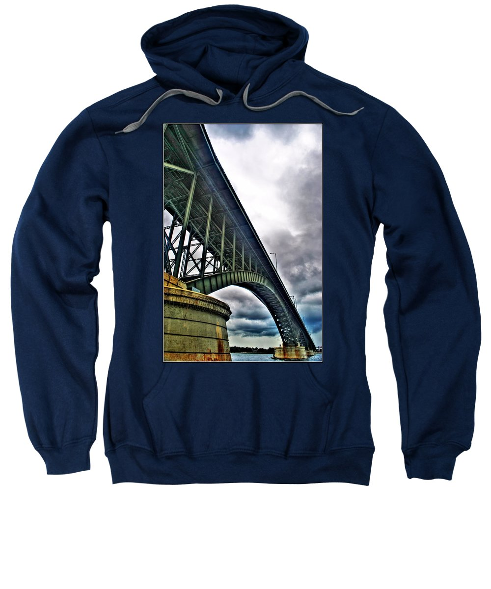 Sweatshirt featuring the photograph 002 Stormy Skies Peace Bridge Series by Michael Frank Jr