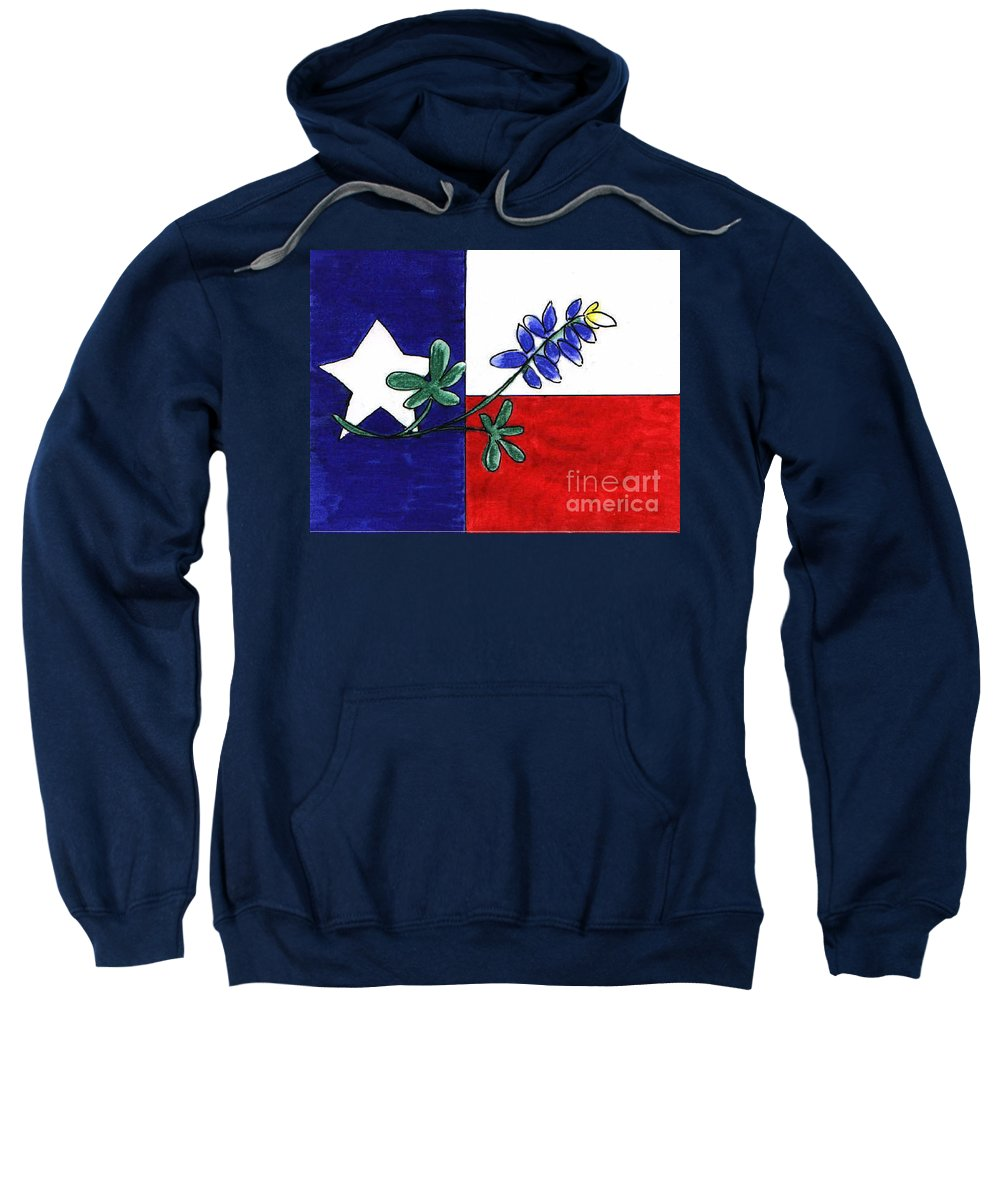 Texas Flag Sweatshirt featuring the drawing Texas Bluebonnet by Vonda Lawson-Rosa