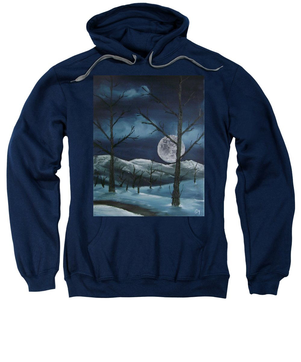 Landscape Sweatshirt featuring the painting Winter Night by Charles and Melisa Morrison