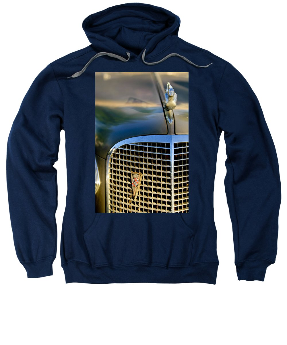 1937 Cadillac Sweatshirt featuring the photograph 1937 Cadillac Hood Ornament And Grille by Jill Reger